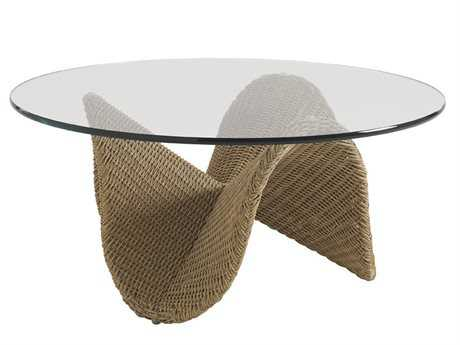 Tommy Bahama Outdoor Aviano Wicker 40'' Round Glass Top Cocktail Table