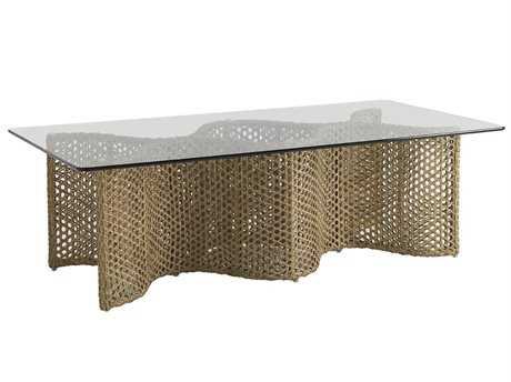 Tommy Bahama Outdoor Aviano Wicker 60'' x 36'' Rectangular Glass Top Cocktail Table