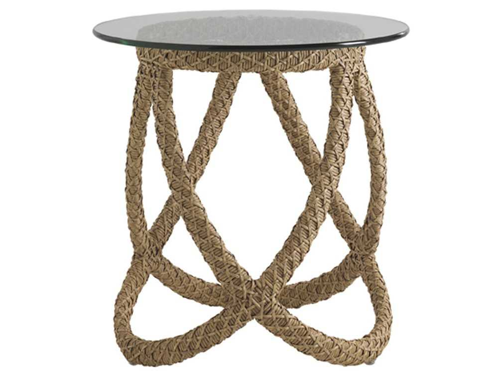 Tommy Bahama Outdoor Aviano Wicker 24u0027u0027 Round Glass Top End Table |  3220 953TBSET
