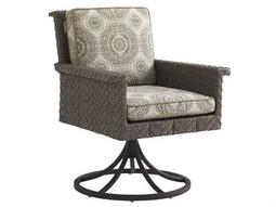 Tommy Bahama Outdoor Blue Olive Wicker Swivel Rocker Dining Chair