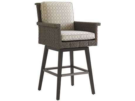 Tommy Bahama Outdoor Blue Olive Wicker Swivel Bar Stool