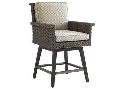 Tommy Bahama Outdoor Blue Olive Wicker Swivel Counter Stool