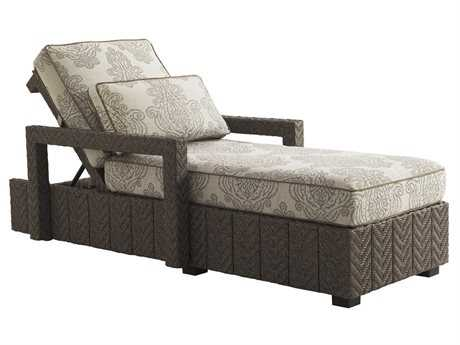 Tommy Bahama Outdoor Blue Olive Wicker Chaise Lounge