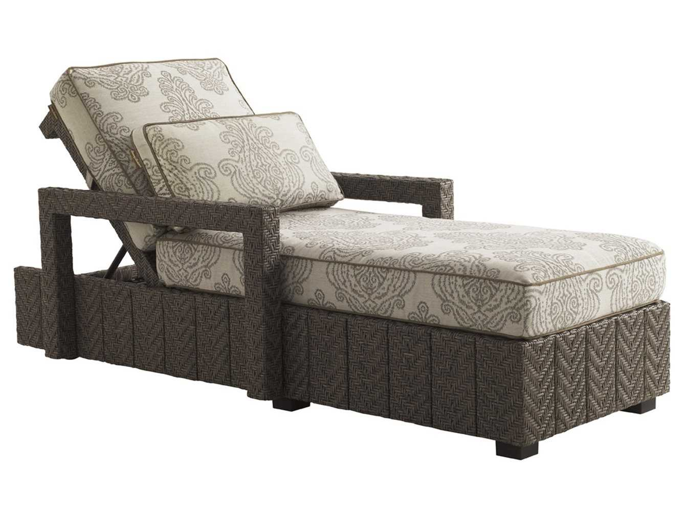 Tommy Bahama Outdoor Blue Olive Wicker Chaise Lounge 3230 75