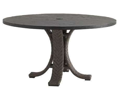 Tommy Bahama Outdoor Blue Olive Wicker 54'' Round Weatherstone Dining Table