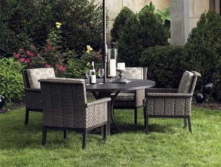 Tommy Bahama Outdoor Blue Olive Wicker Dining Set