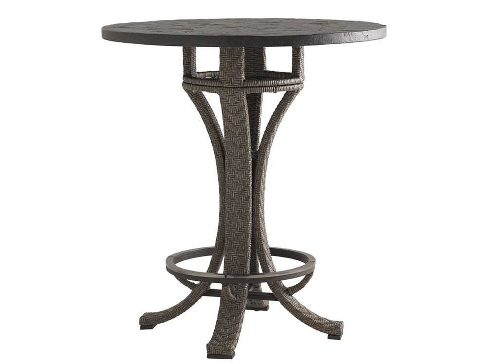 Tommy Bahama Outdoor Blue Olive Wicker 38u0027u0027 Round Adjustable Bar Table |  3230 873BBSET