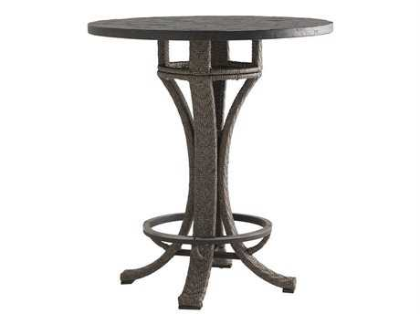 Tommy Bahama Outdoor Blue Olive Wicker 38'' Round Adjustable Bar Table