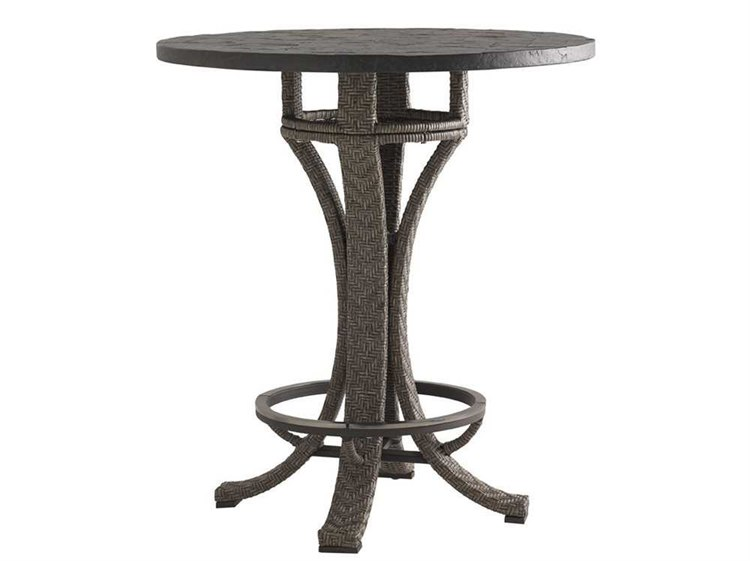 Tommy Bahama Outdoor Blue Olive Wicker 38 Round Adjule Bar Table
