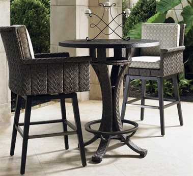 Tommy Bahama Outdoor Blue Olive Wicker Bar Set