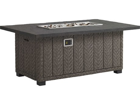 Tommy Bahama Outdoor Blue Olive Wicker 58'' x 36'' Rectangular Gas Fire Pit