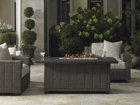 Tommy Bahama Outdoor Blue Olive Wicker Fire Pit Lounge Set