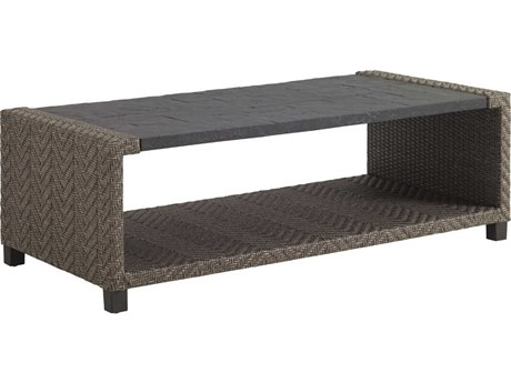 Tommy Bahama Outdoor Blue Olive Wicker 58'' x 28'' Rectangular Cocktail Table PatioLiving