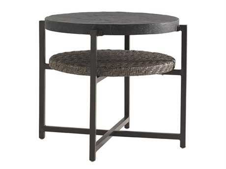 Tommy Bahama Outdoor Blue Olive Wicker 29.5'' Round End Table