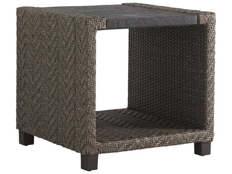 Tommy Bahama Outdoor Blue Olive Wicker 24'' Square End Table PatioLiving