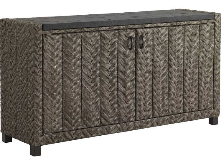 Tommy Bahama Outdoor Blue Olive Wicker 60'' x 16'' Rectangular Buffet PatioLiving