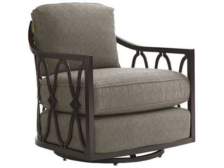 Tommy Bahama Outdoor Black Sands Cast Aluminum Cushion Swivel Tub Chair PatioLiving