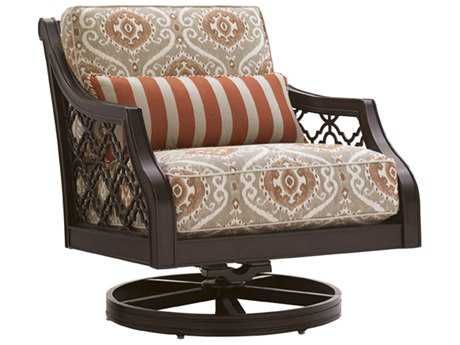 Tommy Bahama Outdoor Black Sands Cast Aluminum Cushion Swivel Rocker Lounge Chair