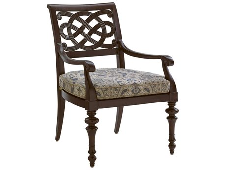 Tommy Bahama Outdoor Black Sands Cast Aluminum Cushion Dining Arm Chair in Fabric 7649-31