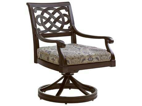 Tommy Bahama Outdoor Black Sands Cast Aluminum Cushion Swivel Rocker Dining Chair