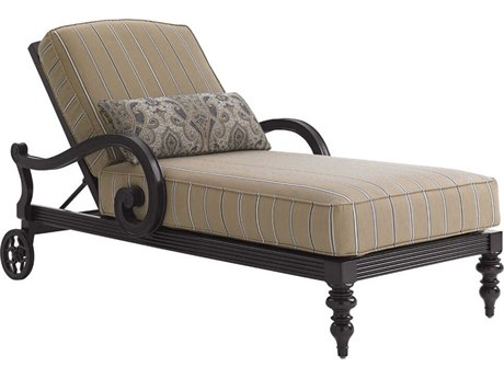 Black Sands Cast Aluminum Cushion Chaise Lounge in Fabric 7545-71
