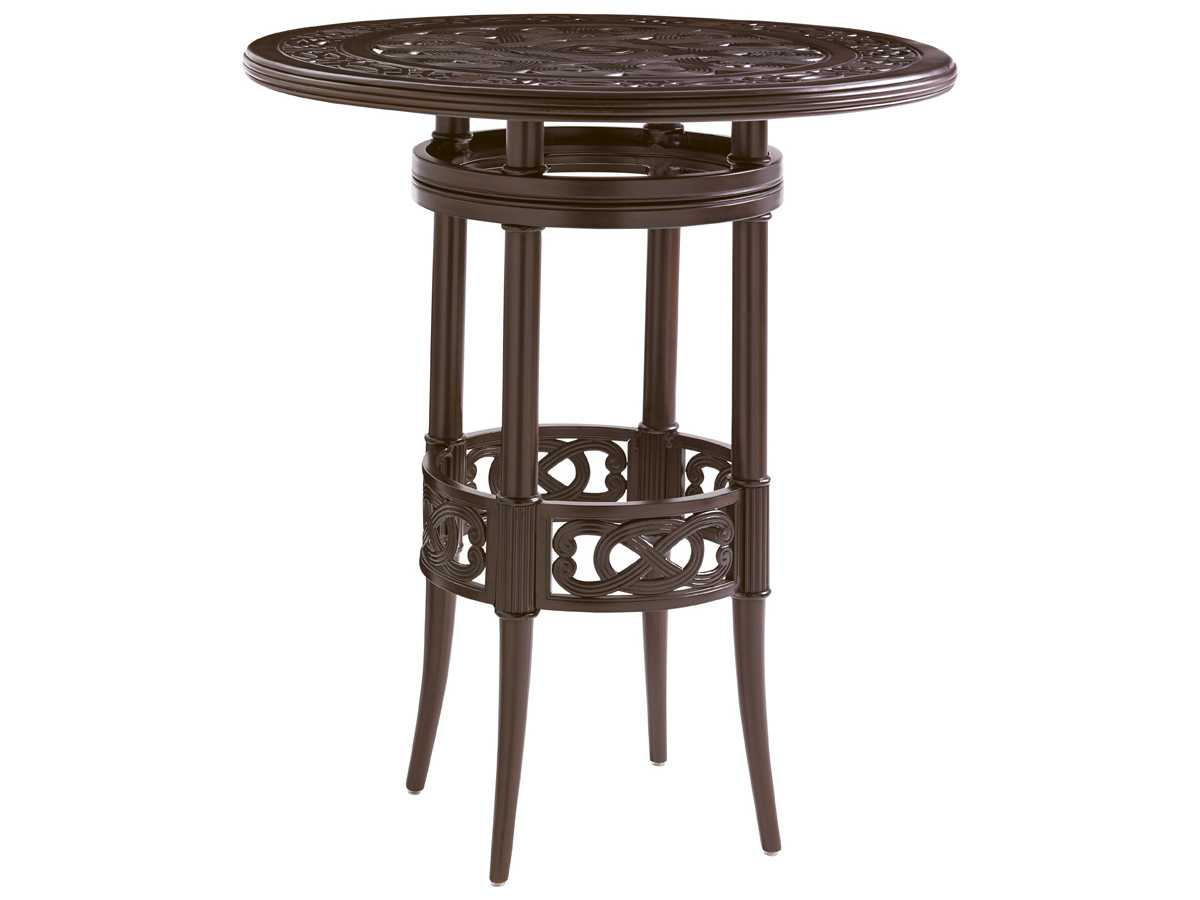 tommy bahama outdoor black sands cast aluminum 38 39 39 wide round bistro bar table tr3235873set. Black Bedroom Furniture Sets. Home Design Ideas