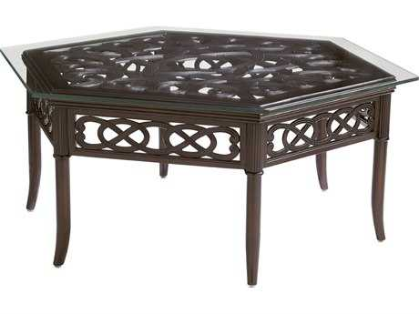Tommy Bahama Outdoor Black Sands Cast Aluminum 48 x 41.5 Hexagon Coffee Table PatioLiving