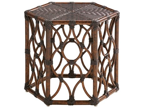 Tommy Bahama Outdoor Black Sands Wicker 19.5 x 22.25 Bunching Cocktail Table PatioLiving