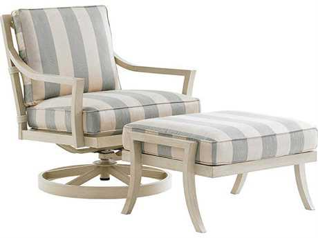 Tommy Bahama Outdoor Misty Garden Cast Aluminum Swivel Rocker Lounge Chair & Ottoman Set PatioLiving