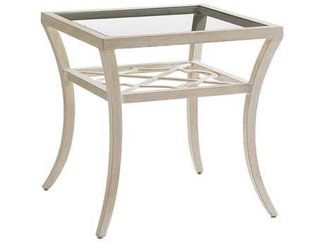 Tommy Bahama Outdoor Misty Garden Cast Aluminum 24'' Square End Table with Inset Glass Top