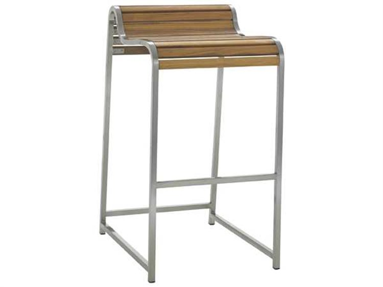 Tres Chic Steel Teak Bar Stool