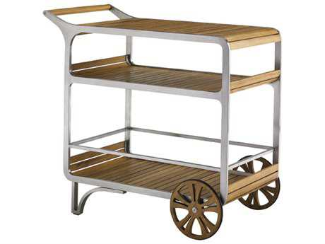 Tommy Bahama Outdoor Tres Chic Steel Teak Mobile Bar Cart