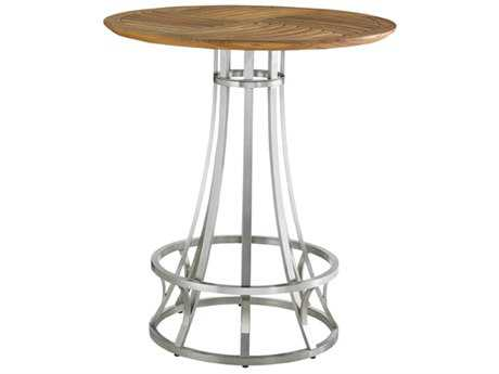 Tommy Bahama Outdoor Tres Chic Steel Teak 38'' Round Bistro Bar Table
