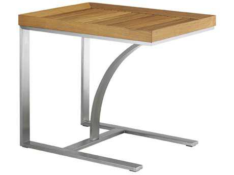 Tommy Bahama Outdoor Tres Chic Steel Teak 19.25'' x 26'' Rectangular Occasional Table PatioLiving