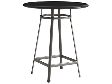 Tommy Bahama Outdoor Del Mar Satin Black Laminate Top 38'' Wide Round Bistro Bar/ Counter Table