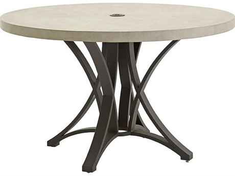 Tommy Bahama Outdoor Cypress Point Ocean Terrace Aluminum 48''Wide Round Weatherstone Top Dining Table with Umbrella Hole