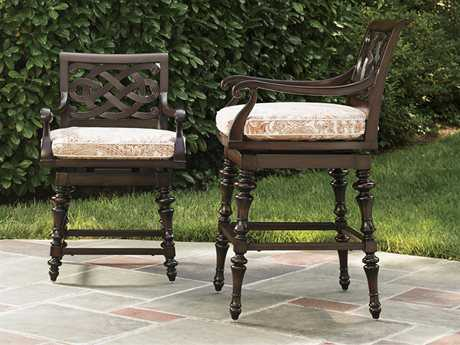 Tommy Bahama Outdoor Black Sands Cast Aluminum Bar and Counter Stool Set