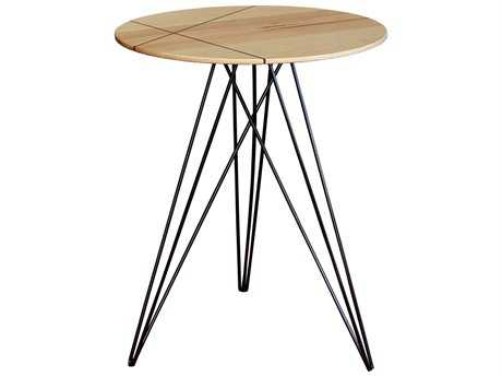 Tronk Design Hudson Maple & Black 18'' Round End Table with Inlay
