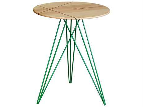 Tronk Design Hudson Maple & Green 18'' Round End Table with Inlay