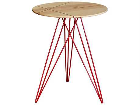 Tronk Design Hudson Maple & Red 18'' Round End Table with Inlay
