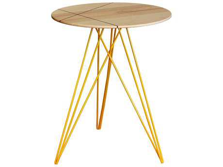 Tronk Design Hudson Maple & Yellow 18'' Round End Table with Inlay