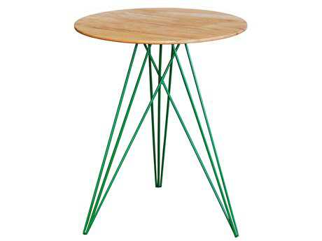 Tronk Design Hudson Maple & Green 18'' Round End Table