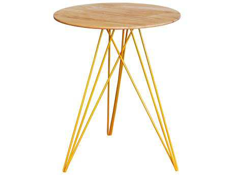 Tronk Design Hudson Maple & Yellow 18'' Round End Table
