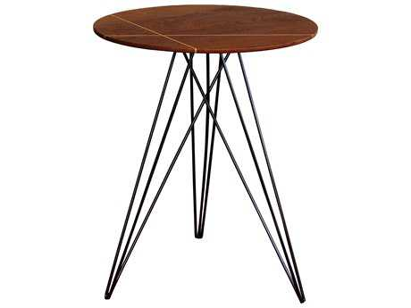 Tronk Design Hudson Walnut & Black 18'' Round End Table with Inlay