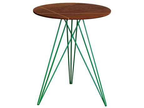 Tronk Design Hudson Walnut & Green 18'' Round End Table with Inlay