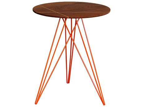 Tronk Design Hudson Walnut & Orange 18'' Round End Table with Inlay