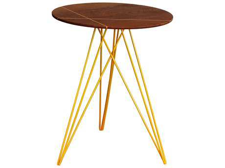 Tronk Design Hudson Walnut & Yellow 18'' Round End Table with Inlay