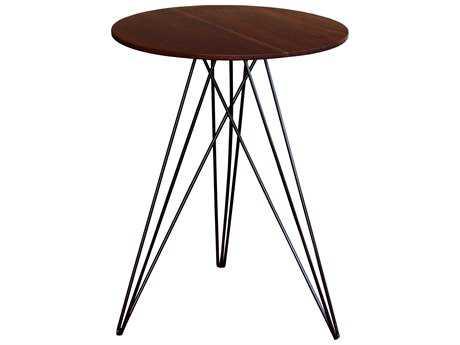 Tronk Design Hudson Walnut & Black 18'' Round End Table