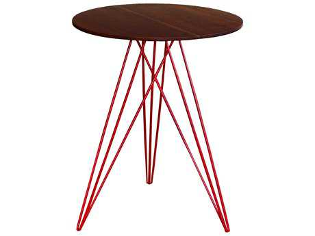 Tronk Design Hudson Walnut & Red 18'' Round End Table