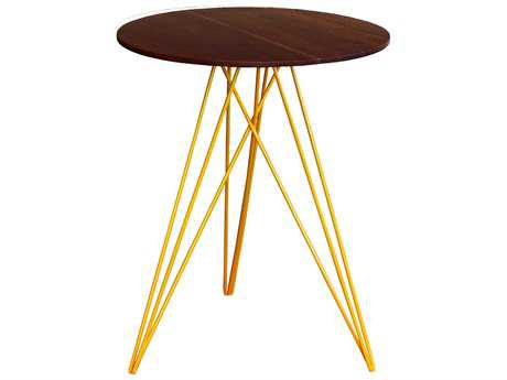 Tronk Design Hudson Walnut & Yellow 18'' Round End Table